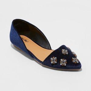 Shoes - Camilla Embellished Toe Velvet Ballet Flats 6.5